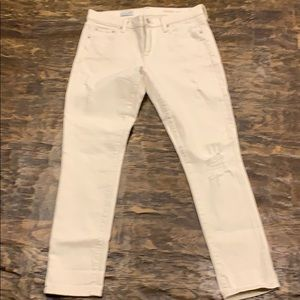 Gap 1969 Ivory Girlfriend Distressed Jeans